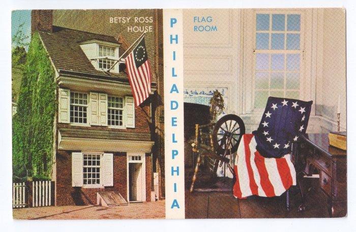 Betsy Ross House American Flag Philadelphia Patriotic postcard