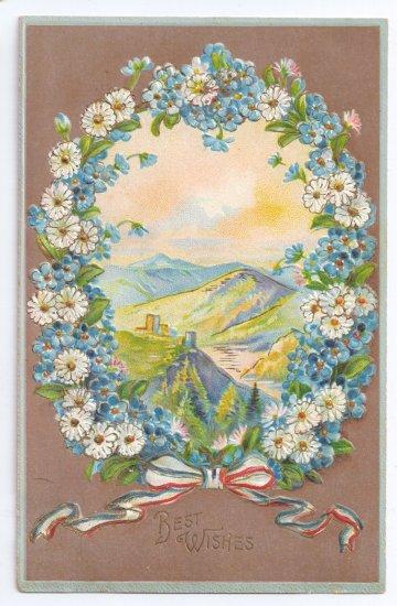 Best Wishes Embossed Daisies Gilt Vintage Patriotic Postcard