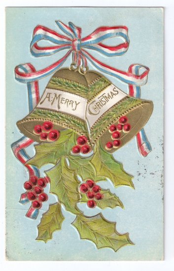 Christmas Bells Embossed Gilt Vintage Patriotic Postcard