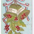 Christmas Bells Embossed Gilt Vintage Patriotic Postcard