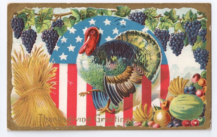 Turkey with Flag Vintage Patriotic Thanksgiving Postcard
