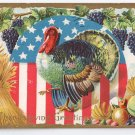 Turkey with Flag Vintage Patriotic Thanksgiving Postcard
