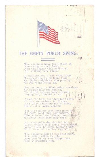WWI Vintage Patriotic Poem Postcard The Empty Porch Swing