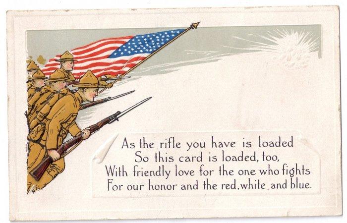 WWI Embossed Soldiers Flag Vintage Arts & Crafts Patriotic Poem Postcard