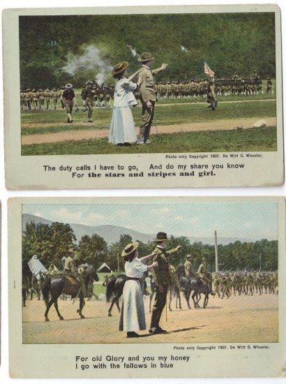 2 Vintage Patriotic Romance Postcards Soldier Goodbye Sweetheart