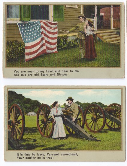 2 Vintage Patriotic Romance Postcards Soldier Flag Good Bye Sweetheart