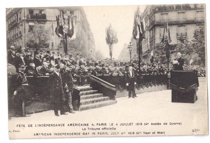 WWI Paris July 4 1918 Vintage Postcard Independence Day in France