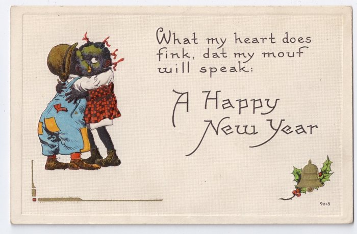 Black Americana Children Kissing Vintage Bergman new Year Postcard 1913