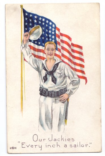 WWI Our Jackies Every Inch a Sailor Vintage Patriotic Postcard US Flag