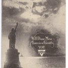 WWI YMCA Well Done Men Statue of Liberty Vintage Postcard