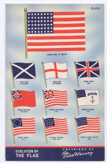 American Flag Vintage Patriotic Postcard Fred Harvey 1943 Old Glory
