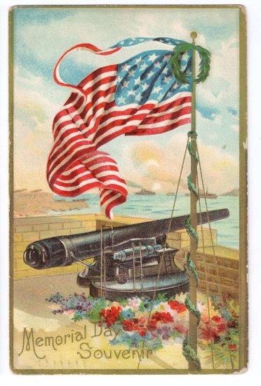 Memorial Day Embossed US Flag Cannon Patriotic Postcard