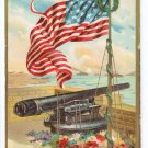 Memorial Day Embossed US Flag Cannon Patriotic Postcard