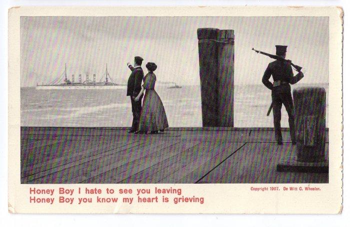 Soldier Leaves Girl 1907 Theo Eismann Patriotic Romantic Postcard