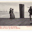 Soldier Leaves Girl 1907 Theo Eismann Patriotic Romantic Postcard