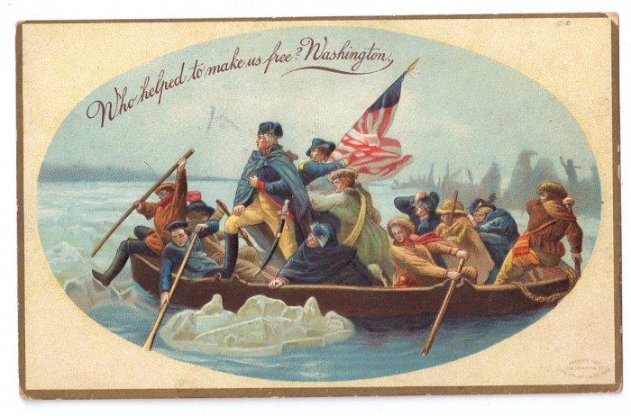 George Washington Crossing Delaware Vintage Patriotic Postcard