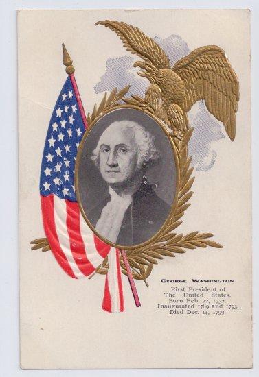 George Washington Portrait Embossed Gilt Eagle Vintage Patriotic Postcard