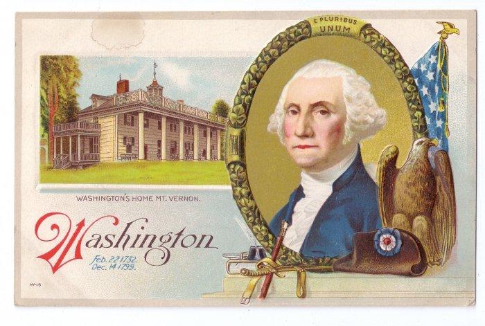 George Washington Mt. Vernon Eagle Embossed Vintage Patriotic Postcard