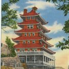 Pagoda on Mt. Penn Reading PA Linen Vintage Postcard