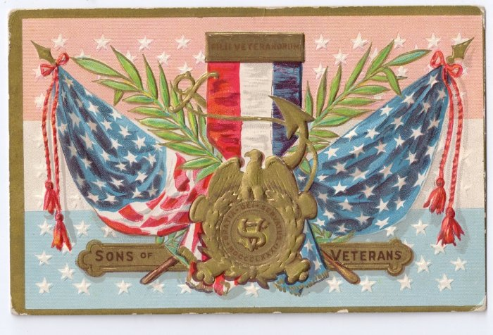 Sons of Veterans Decoration Day Embossed Vintage Patriotic Postcard