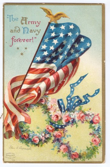 Clapsaddle Patriotic Army Navy US Flag 1908 Vintage Postcard