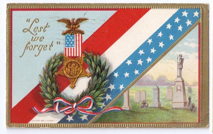 Lest We Forget Decoration Day GAR Vintage Patriotic Postcard