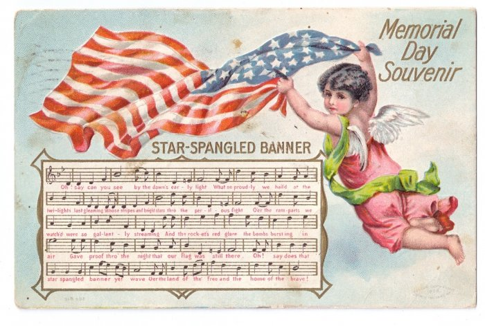 Angel Star Spangled Banner Memorial Day Vintage Patriotic Postcard