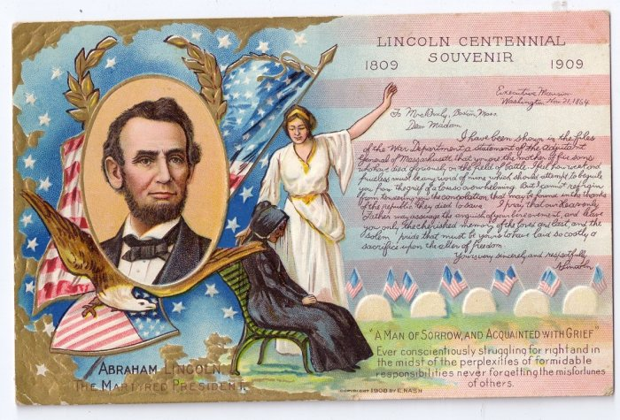 Lincoln Centennial 1908 Vintage Patriotic Postcard Lincoln's Birthday