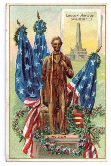 Lincoln Monument Springfield IL Tuck Vintage Patriotic Postcard