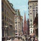 Wall Street Trinity Church New York ca 1910 Vintage Postcard Leighton NM
