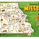 Greetings from Missouri Map Postcard MO Dexter Press Chrome