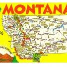 Greetings from Montana Map Postcard MT Crocker Chrome