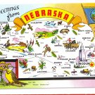 Greetings from Nebraska Map Postcard NE Tichnor Chrome