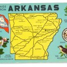 Greetings from Arkansas Map Postcard AR Curteich Chrome