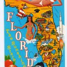 Greetings from Florida Map Postcard FL Chrome