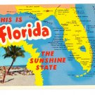 Greetings from Florida Map Postcard FL Curteich 1964 Chrome