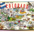 Greetings from Colorado Map Postcard CO Tichnor Chrome