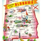Greetings from Alabama Map Postcard AL Tichnor Chrome