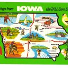 Greetings from Iowa Map Postcard IA Chrome
