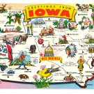 Greetings from Iowa Map Postcard IA Tichnor Chrome