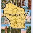 Wisconsin State Map Postcard WI 1946 Kropp Linen