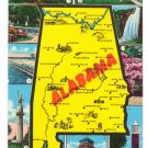 Greetings from Alabama Map Postcard AL 1956 Curteich Chrome