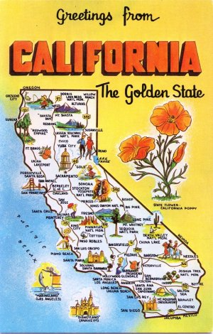 Greetings from california map postcard ca dexter chrome m4hsunfo