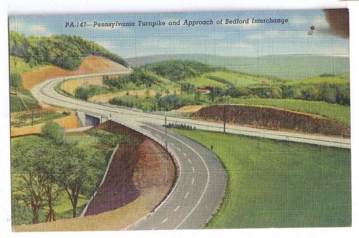 PA 147 Turnpike Bedford Interchange Vintage Linen Postcard Curteich