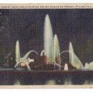 Logan Circle Fountains at Night Philadelphia PA Linen Curteich 1933