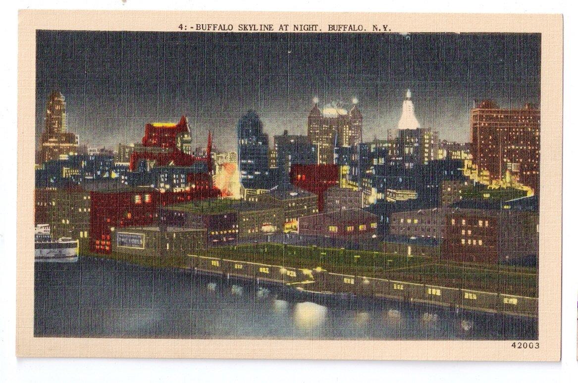 Buffalo ny skyline at night linen metrocraft for Craft stores buffalo ny