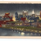 Buffalo NY Skyline at Night Linen Metrocraft