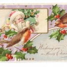 Christmas Santa Robins and Holly Vintage Embossed Postcard