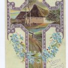 Silver gilded Cross Cottage Scene Embossed Easter Postcard 1910