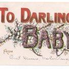 To Darling Baby Glitter Vintage Embossed Postcard ca 1908